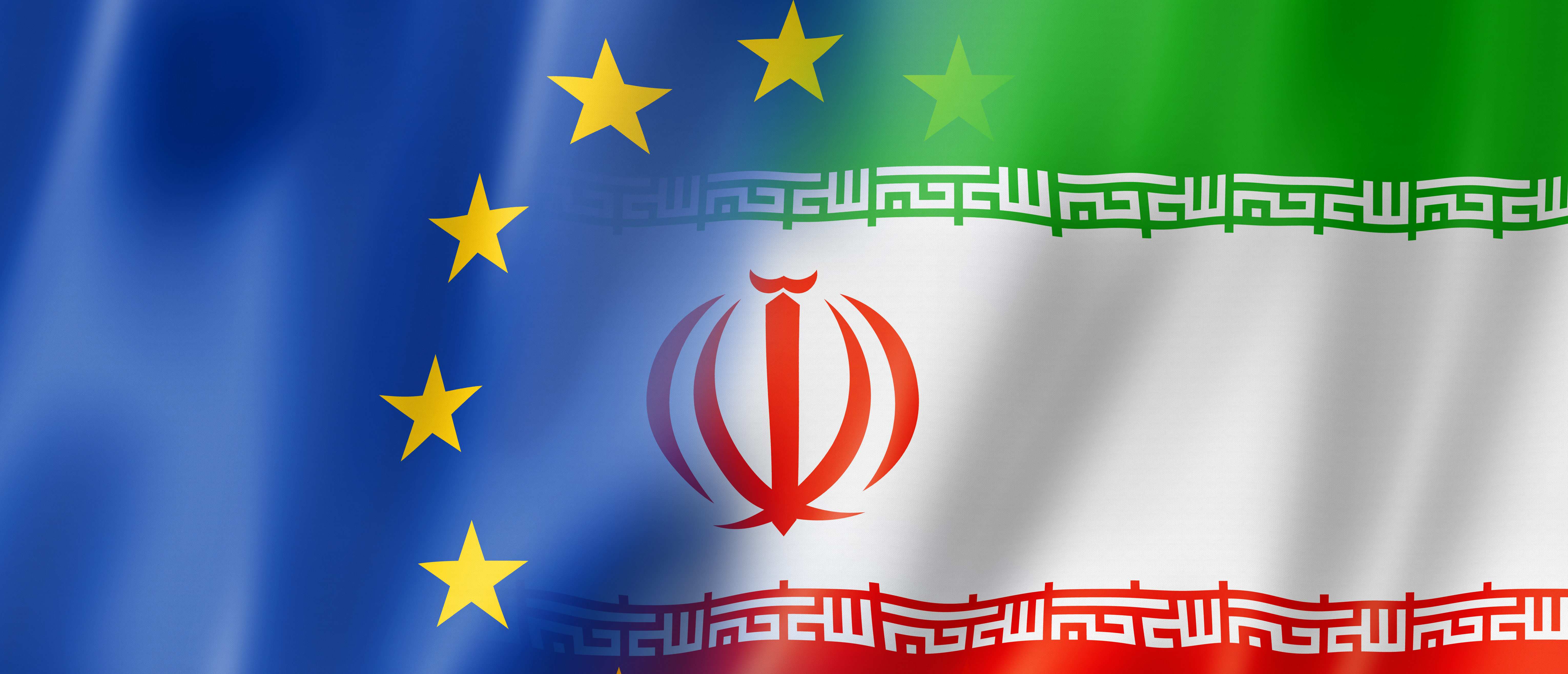 Mixed Europe and Iran flag, three dimensional render, illustration. (Daboost/Shutterstock)