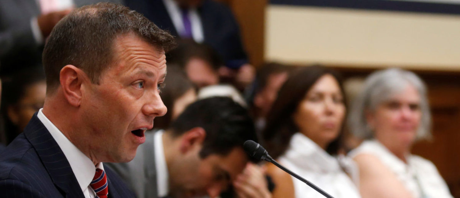 "FBI Deputy Assistant Director Peter Strzok testifies before a House Committees on the Judiciary and Oversight & Government Reform joint hearing on ""Oversight of FBI and DOJ Actions Surrounding the 2016 Election""in Washington, U.S., July 12, 2018. REUTERS/Leah Millis"