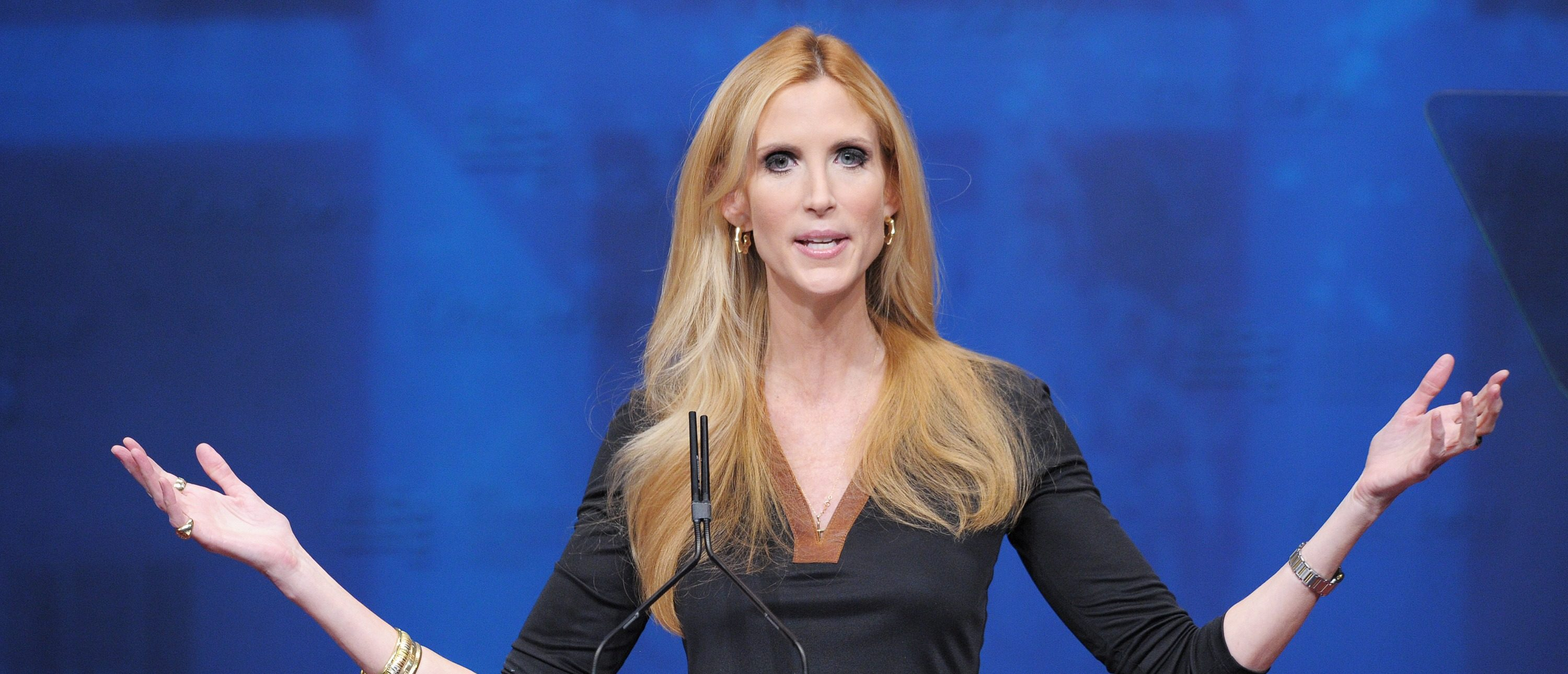 Author Ann Coulter speaks during an address to the 39th Conservative Political Action Committee February 10, 2012 in Washington, DC. AFP PHOTO/Mandel NGAN (Photo credit should read MANDEL NGAN/AFP/Getty Images)