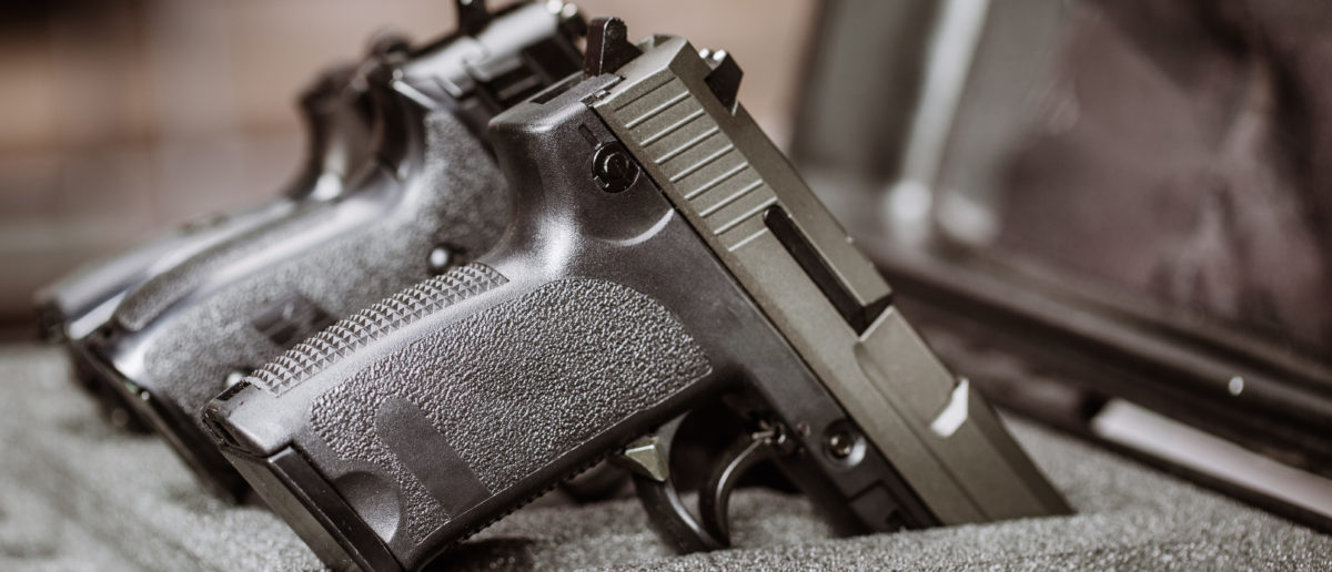 Black handgun in plastic secure storage case [Shutterstock/Presslab]