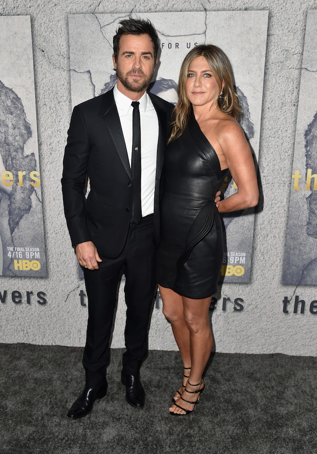 "Actors Justin Theroux and Jennifer Aniston attend the premiere of HBO's ""The Leftovers"" Season 3 at Avalon Hollywood on April 4, 2017 in Los Angeles, California. (Photo by Alberto E. Rodriguez/Getty Images)"