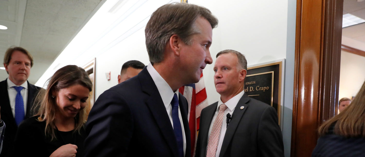 Supreme Court Justice nominee Brett Kavanaugh walks into a meeting with Sen. Michael Crapo (R-ID) at his office in the Dirksen Senate Office Building in Washington, U.S., July 11, 2018. REUTERS/Leah Millis