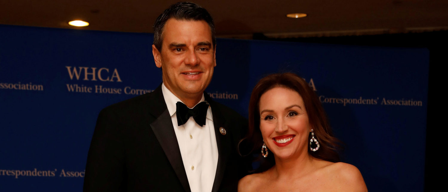 Rep. Kevin Yoder (R-KS) arrives with his wife Brooke on the red carpet at the White House Correspondents' Association dinner in Washington, U.S., April 28, 2018. REUTERS/Aaron P. Bernstein