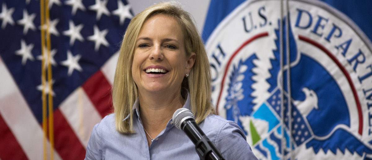 CALEXICO, CA - APRIL 18: U.S. Department of Homeland Security Secretary Kirstjen Nielsen addresses border agents before touring a replacement border fence construction site on April 18, 2018 in Calexico, California. President Trump recently bashed California Gov. Jerry Brown after a decision to limit the mission of California National Guard troops at the Mexico border. (Photo by David McNew/Getty Images)