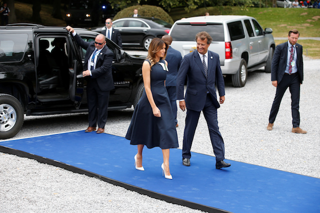 U.S. first lady Melania Trump arrives at the Queen Elisabeth Music Chapel in Waterloo, Belgium July 11, 2018. REUTERS/Vincent Kessler