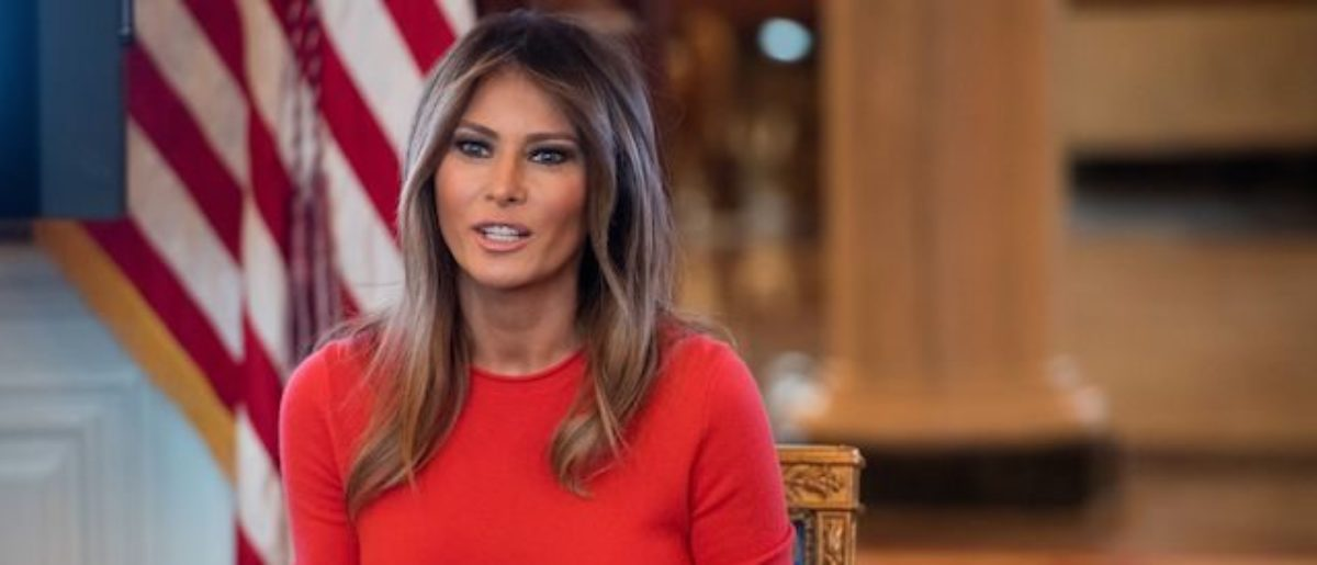 US First Lady Melania Trump speaks during a discussion with local middle school students about their lives in the Blue Room of the White House in Washington, DC, April 9, 2018. (Photo credit: SAUL LOEB/AFP/Getty Images)