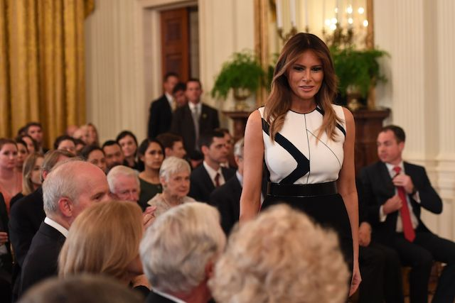US First Lady Melania Trump arrives for the US president's announcement of his Supreme Court nominee in the East Room of the White House on July 9, 2018 in Washington, DC. (Photo credit: SAUL LOEB/AFP/Getty Images)