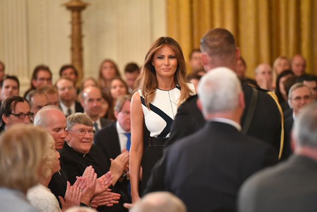 Melania Trump arrives to witness the US president announcing his Supreme Court nominee in the East Room of the White House on July 9, 2018 in Washington, DC. (Photo credit: MANDEL NGAN/AFP/Getty Images)