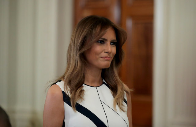 First lady Melania Trump looks on before U.S. President Donald Trump introduces U.S. Circuit Judge Brett M. Kavanaugh as his nominee to the United States Supreme Court during an event in the East Room of the White House July 9, 2018 in Washington, DC. Pending confirmation by the U.S. Senate, Judge Kavanaugh would succeed Associate Justice Anthony Kennedy, 81, who is retiring after 30 years of service on the high court. (Photo by Chip Somodevilla/Getty Images)