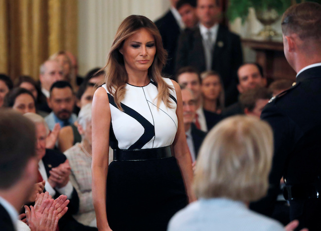 U.S. first lady Melania Trump is seen before U.S. President Donald Trump introduces his Supreme Court nominee in the East Room of the White House in Washington, U.S., July 9, 2018. REUTERS/Jim Bourg