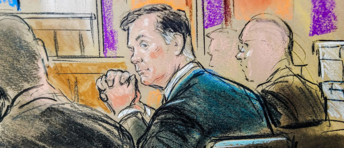 Former Trump campaign manager Paul Manafort is shown in a court room sketch, as he sits in federal court on the opening day of his trial on bank and tax fraud charges stemming from Special Counsel Robert Mueller's investigation into Russian meddling in the 2016 U.S. presidential election, in Alexandria, Virginia, U.S. July 31, 2018. REUTERS/Bill Hennessy