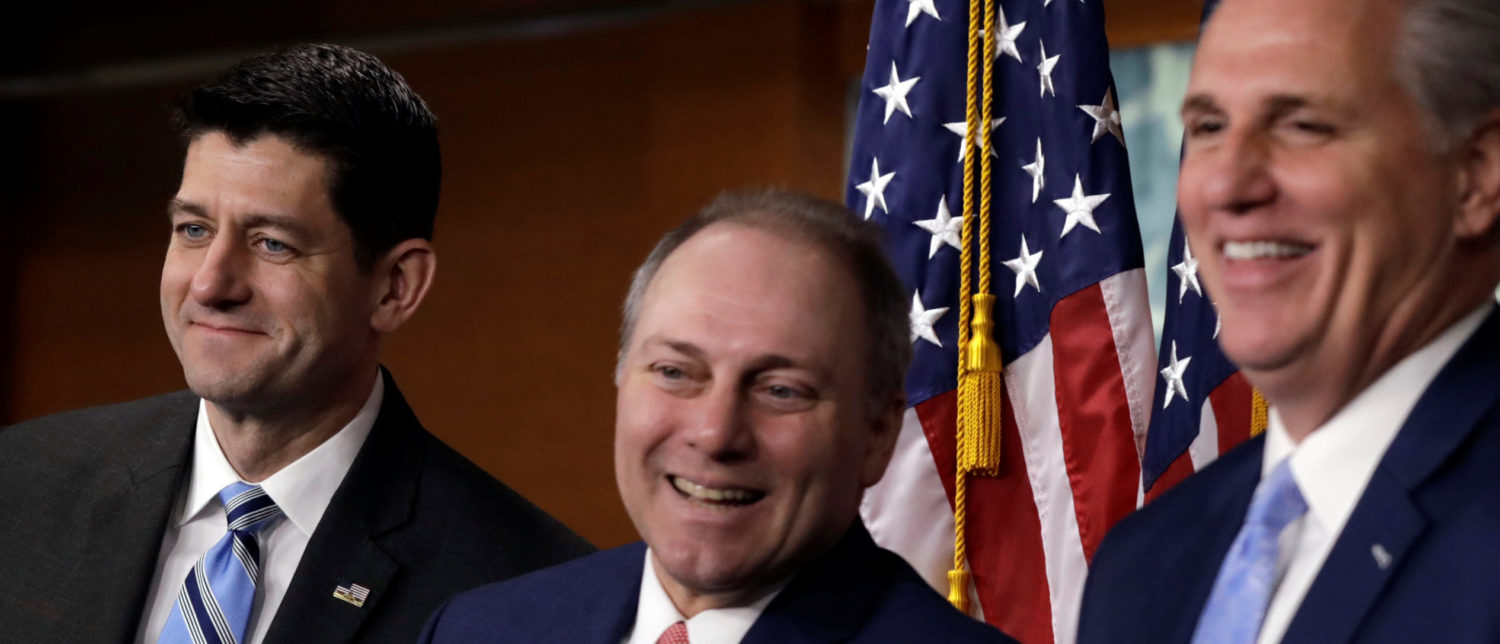 Rep. Cathy McMorris Rodgers (R-WA), House Speaker Paul Ryan (R-WI), House Majority Whip Steve Scalise (R-LA), and House Majority Leader Kevin McCarthy (R-CA) attend a news conference with Republican leaders after their closed conference on Capitol Hill in Washington, U.S., February 14, 2018. REUTERS/Yuri Gripas