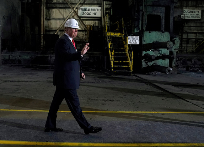 President Donald Trump tours the Granite City Works hot strip steel mill in Granite City, Illinois, July 26, 2018. REUTERS/Joshua Roberts