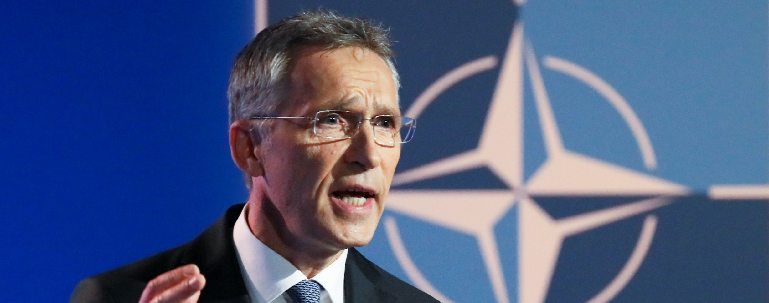 NATO Secretary General Jens Stoltenberg gestures as he gives a news conference ahead of a summit that will gather leaders of the 29 alliance members in Brussels, Belgium, July 10 2018. REUTERS/Reinhard Krause