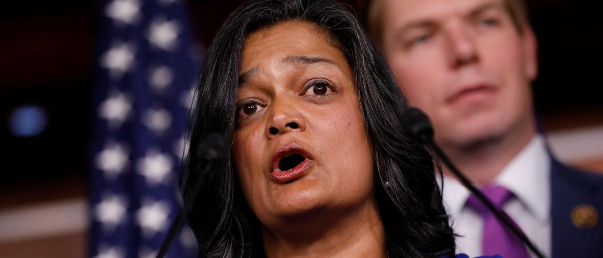 Rep. Pramila Jayapal (D-WA) speaks about recent revelations on Capitol Hill in Washington, D.C., U.S. May 17, 2017. REUTERS/Aaron P. Bernstein