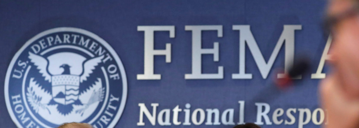 A wall shows the abbreviation FEMA at the Federal Emergency Management Agency in Washington, U.S., June 6, 2018. REUTERS/Carlos Barria