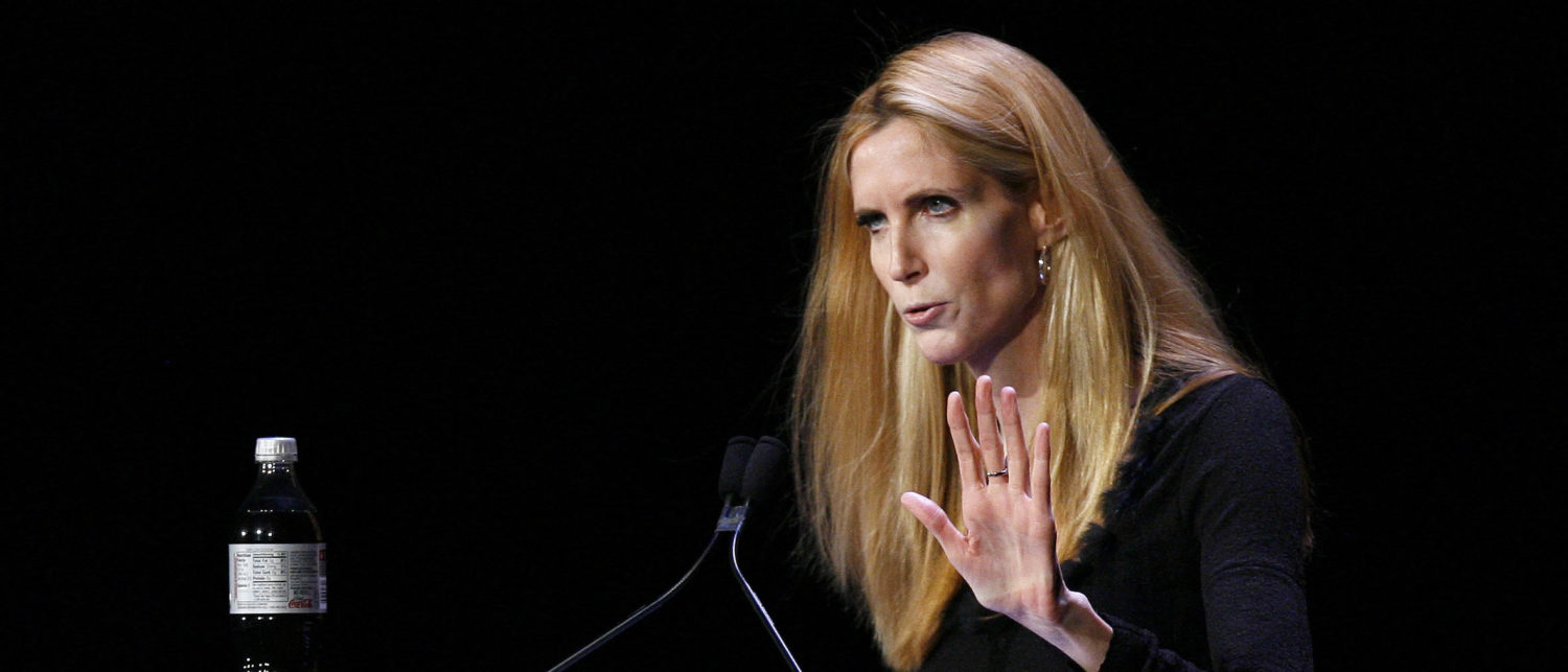 "Television personality Ann Coulter speaks to the audience during the ""Speaker Series: The Minds That Move The World"" debate with Bill Maher in New York March 9, 2009. REUTERS/Lucas Jackson (UNITED STATES ENTERTAINMENT) - GM1E53A0USM01"