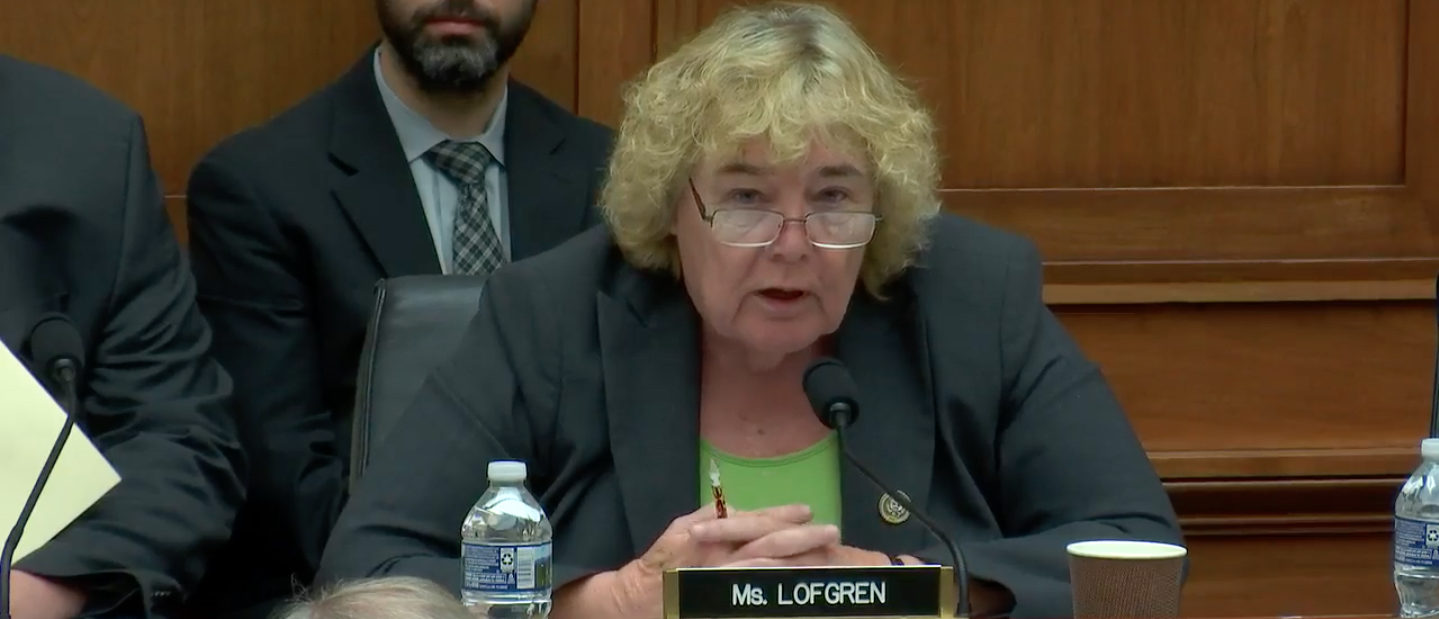 Democratic Rep. Zoe Lofgren of California says conservatives' and Republicans' concerns about political censorship on Facebook, Google, and Twitter are unjustified. (Image: House Judiciary Committee Hearings YouTube screenshot captured July 17, 2018.)
