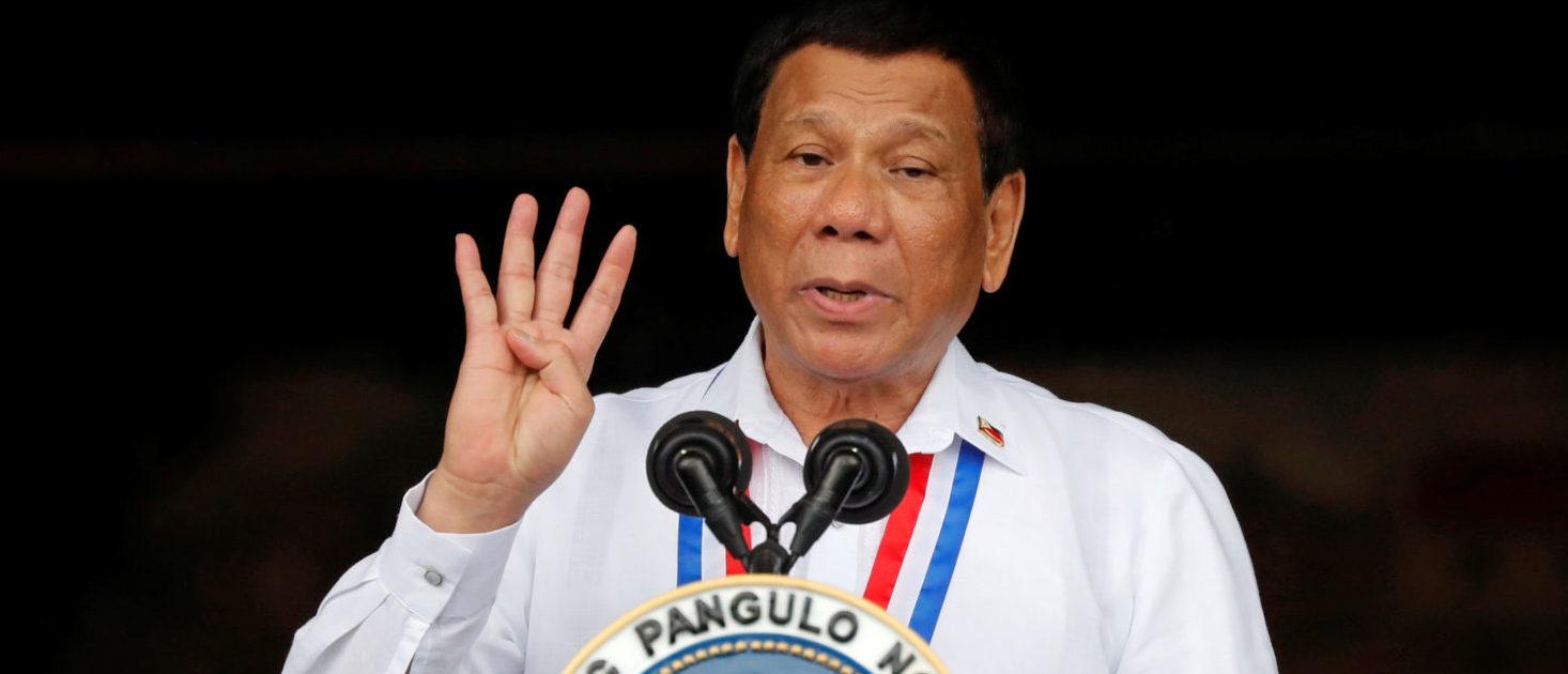 Philippine's President Rodrigo Duterte speaks during the 120th Philippine Independence day celebration at the Emilio Aguinaldo shrine in Kawit, Cavite Philippines June 12, 2018. REUTERS/Erik De Castro