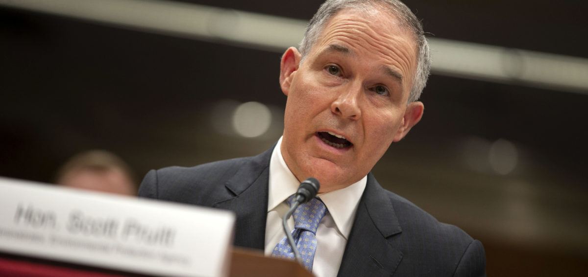 FILE PHOTO:    EPA Administrator Scott Pruitt testifies before a Senate Appropriations Interior, Environment, and Related Agencies Subcommittee hearing on the proposed budget estimates and justification for FY2019 for the Environmental Protection Agency on Capitol Hill in Washington, U.S., May 16, 2018. REUTERS/Al Drago