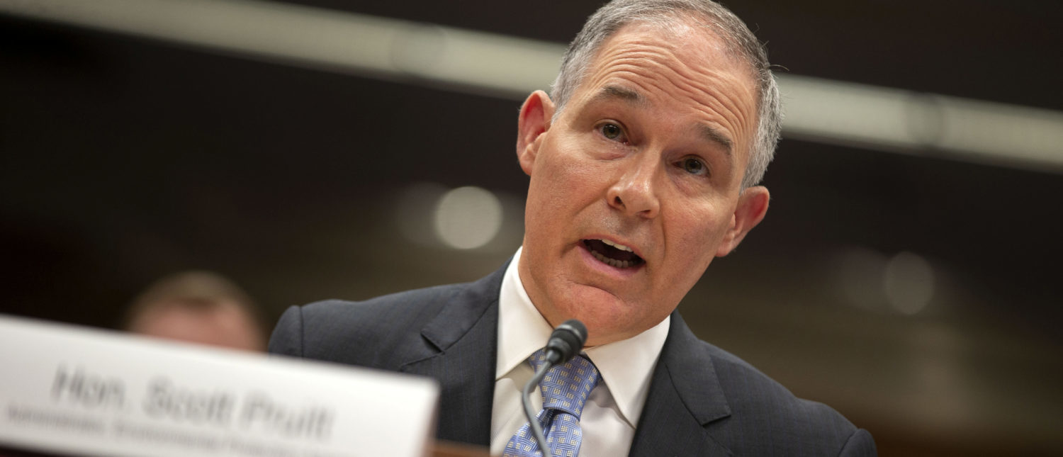EPA Administrator Scott Pruitt testifies before a Senate Appropriations Interior, Environment, and Related Agencies Subcommittee hearing on the proposed budget estimates and justification for FY2019 for the Environmental Protection Agency on Capitol Hill in Washington, U.S., May 16, 2018. (REUTERS/Al Drago/File Photo)