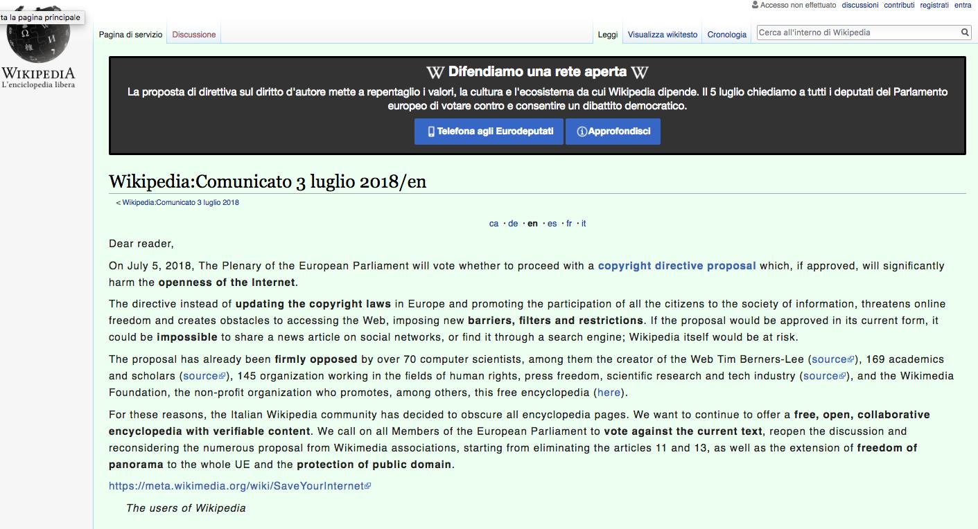 Wikipedia Italy screenshot Tuesday July 3, 2018. (Image: Wikipedia screenshot)
