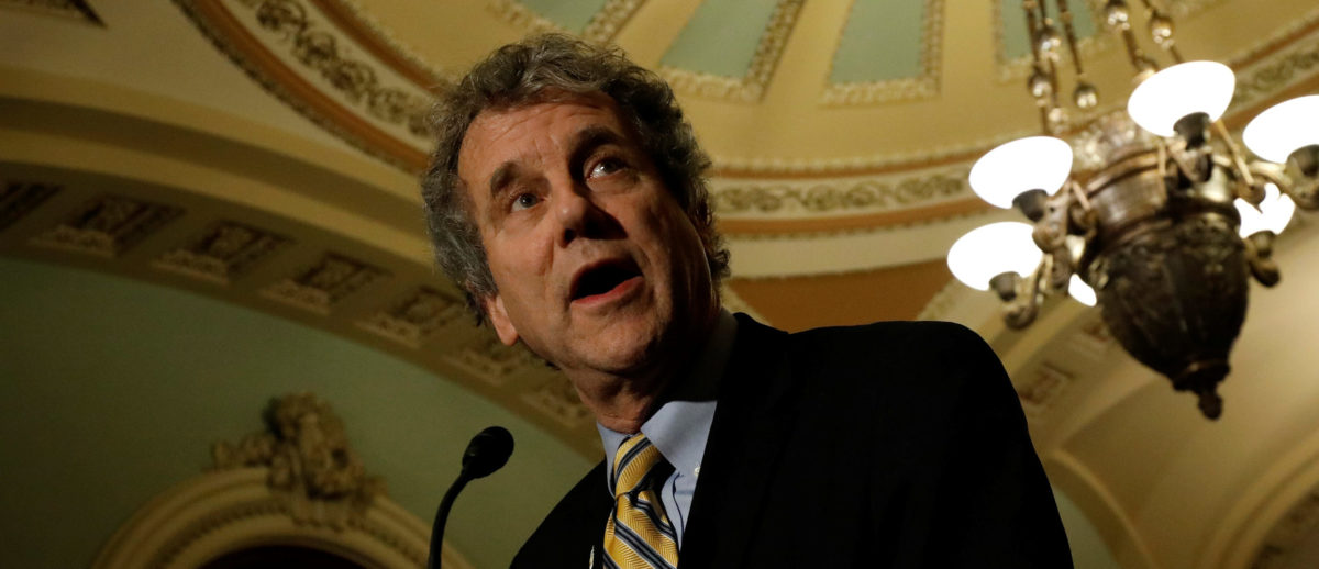 Senator Sherrod Brown (D-OH), accompanied by Senator Tammy Baldwin (D-WI), speaks with reporters following the party luncheons on Capitol Hill in Washington, U.S. December 5, 2017. REUTERS/Aaron P. Bernstein - RC1C4663D070