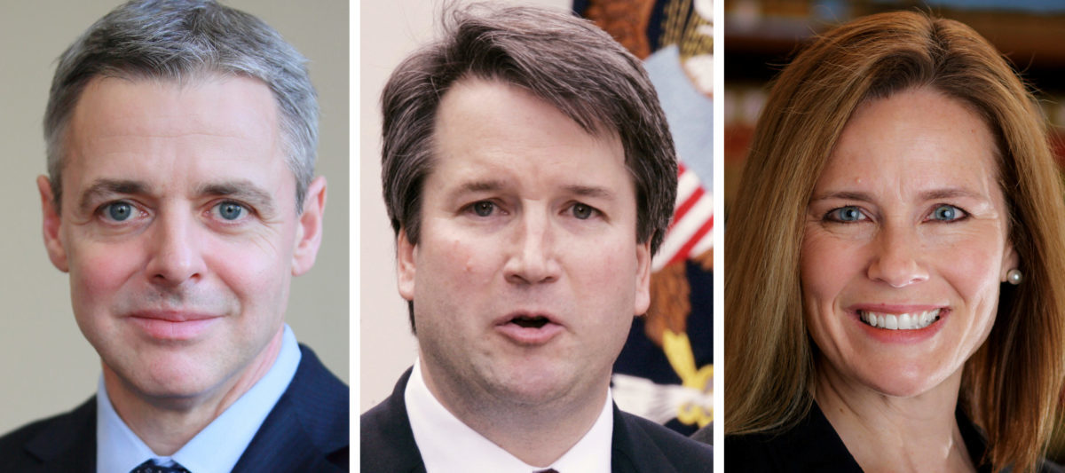 FILE PHOTO: Federal appeals court judges L-R: Raymond Kethledge, Brett Kavanaugh and Amy Coney Barrett, being considered by President Donald Trump for the U.S. Supreme Court, are seen in this combination photo from files. Courtesy Bloomsbury/Abdul El-Tayef/WPPi.com for Raymond Kethledge/Handout via REUTERS (L) REUTERS/Larry Downing/File Photo (C) Courtesy University of Notre Dame/Handout via REUTERS (R) ATTENTION EDITORS - THIS IMAGE HAS BEEN SUPPLIED BY A THIRD PARTY. NO RESALES. NO ARCHIVES. - RC1F45F149C0