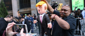 Occupy ICE Protesters Behead Trump Piñata With Guillotine
