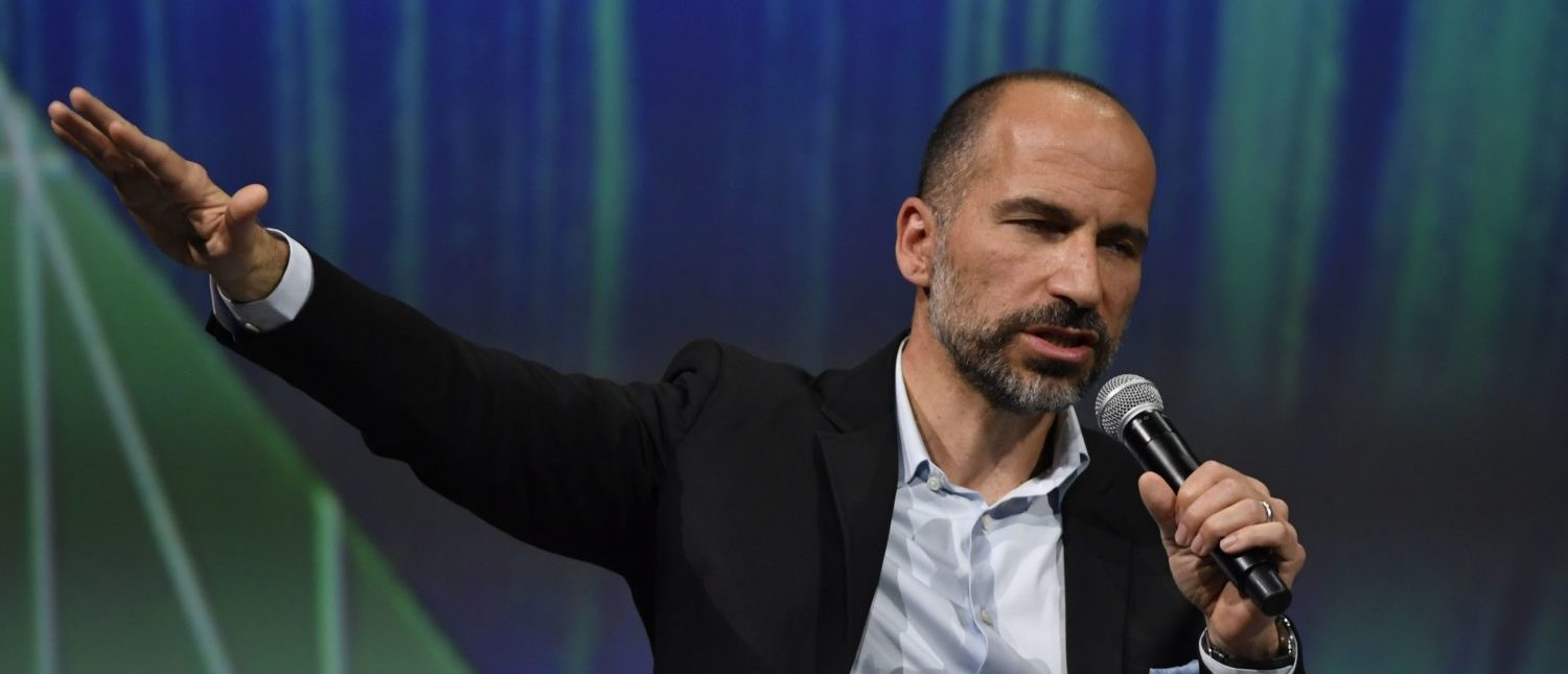 Uber's CEO Dara Khosrowshahi delivers a speech at the VivaTech (Viva Technology) show in Paris, on May 24, 2018. (Photo: GERARD JULIEN/AFP/Getty Images)