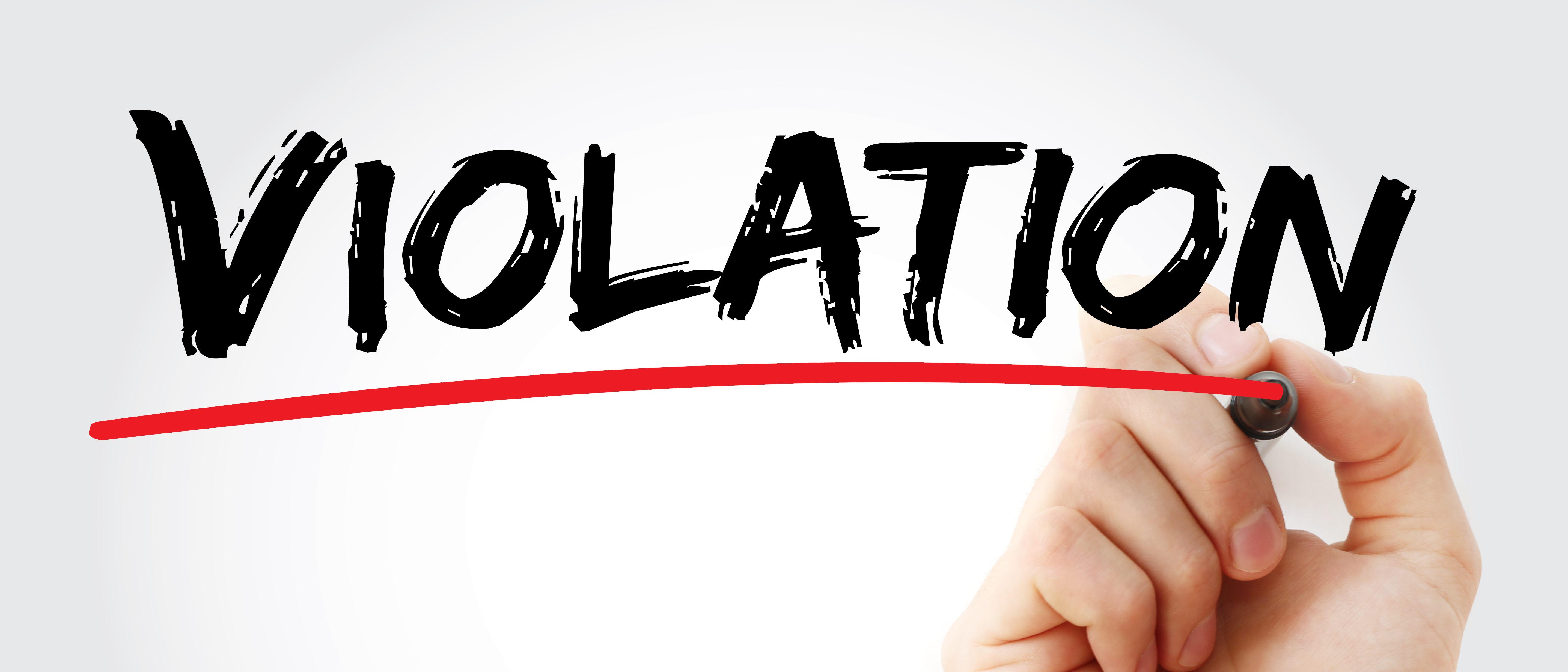 VIolation with line drawn under (Shutterstock/dizain)