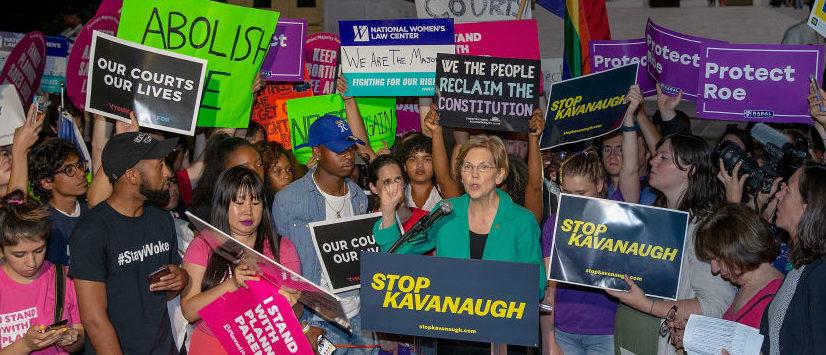 Liberals Led By Elizabeth Warren Protest Kavanaugh Nomination At Supreme Court
