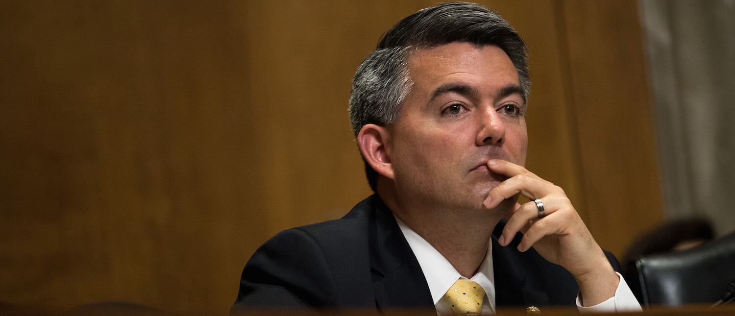 Sen. Cory Gardner (R-CO) listens to testimony during a Senate Foreign Relations Committee hearing concerning cartels and the U.S. heroin epidemic, on Capitol Hill, May 26, 2016, in Washington, DC. (Photo: Drew Angerer/Getty Images)