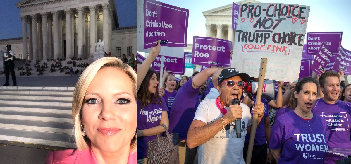 WASHINGTON, DC - JULY 09: Pro-choice and anti-abortion protesters demonstrate in front of the U.S. Supreme Court on July 9, 2018 in Washington, DC. President Donald Trump is set to announce his Supreme Court pick Monday night. (Photo by Tasos Katopodis/Getty Images)