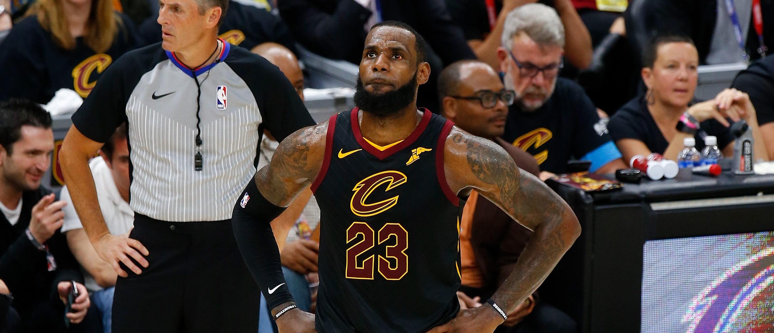 LeBron James #23 of the Cleveland Cavaliers reacts against the Golden State Warriors during Game Four of the 2018 NBA Finals at Quicken Loans Arena on June 8, 2018 in Cleveland, Ohio. (Photo by Justin K. Aller/Getty Images)