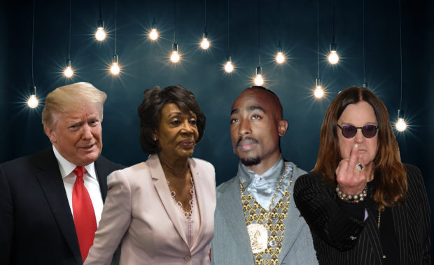 Trump, Waters, Tupac, and Osborn on Getty, Reuters, and Shutterstock/ By donatas1205, Ga Fullner, Mike Segar, Alex Wong