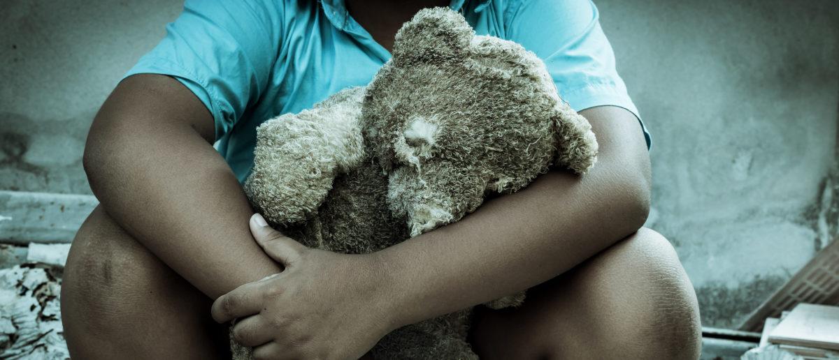 A boy holds a teddy bear. Shutterstock image by Pikul Noorod
