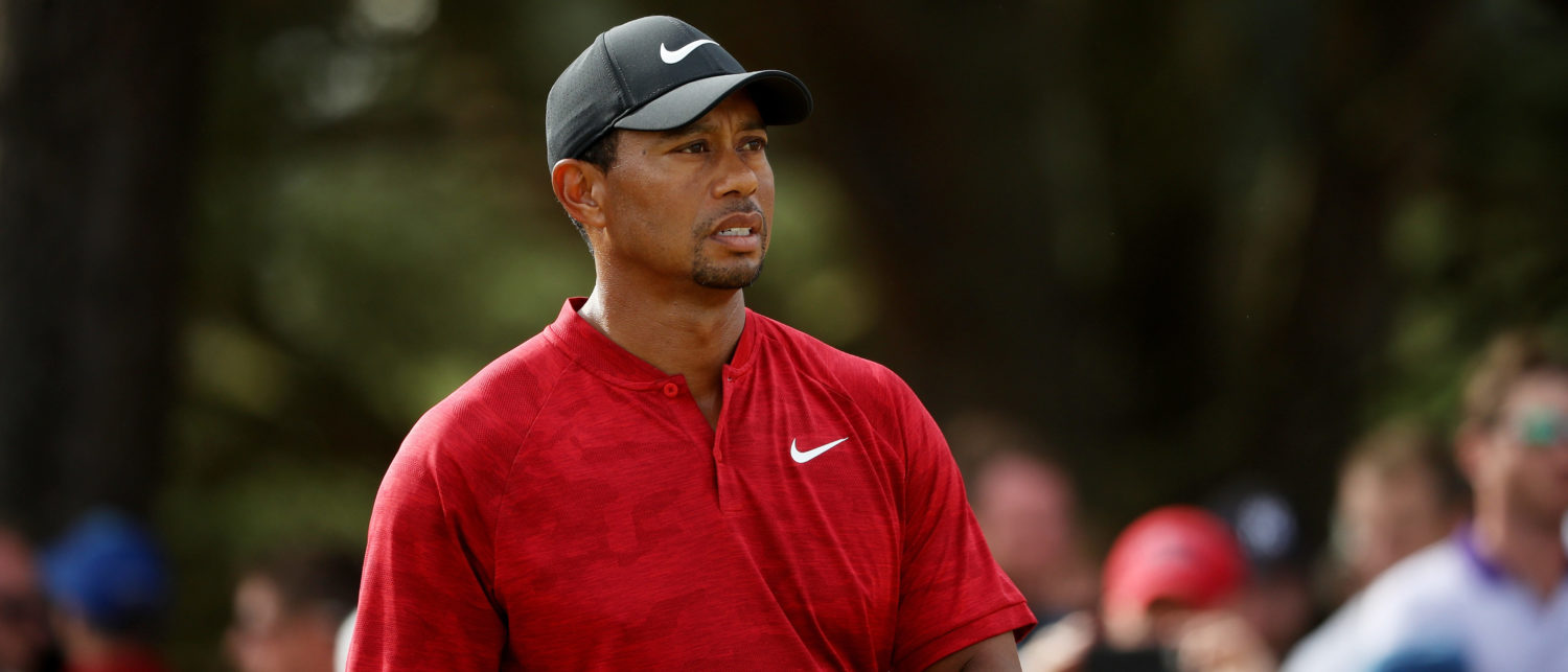 CARNOUSTIE, SCOTLAND - JULY 22: Tiger Woods of the United States looks on during the final round of the 147th Open Championship at Carnoustie Golf Club on July 22, 2018 in Carnoustie, Scotland. (Photo by Francois Nel/Getty Images)