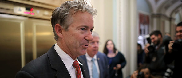 WASHINGTON, DC - NOVEMBER 30: Sen. Rand Paul (R-KY) moves through U.S. Capitol during votes November 30, 2017 in Washington, DC. The Senate is debating the proposed GOP tax reform bill and hopes to pass it before the end of the week. (Photo by Chip Somodevilla/Getty Images)