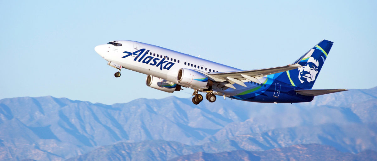 LOS ANGELES/CALIFORNIA - JANUARY 14, 2017: Alaska Airlines Boeing 737-790(WL) aircraft is airborne as it departs Los Angeles International Airport, Los Angeles, California USA [Shutterstock/Philip Pilosian]