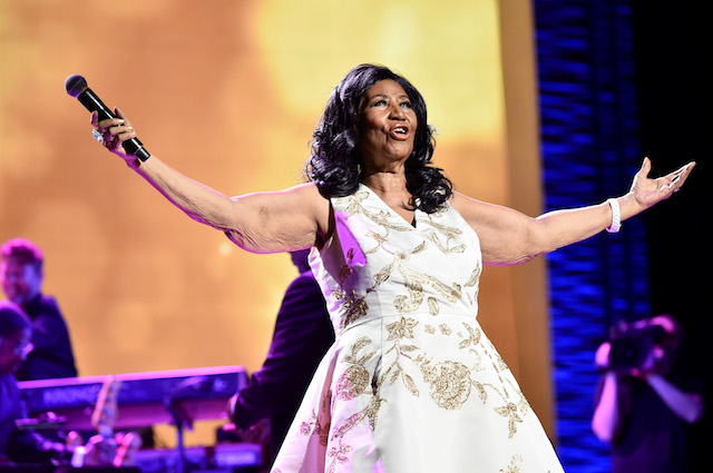 "Aretha Franklin performs onstage during the ""Clive Davis: The Soundtrack of Our Lives"" Premiere Concert during the 2017 Tribeca Film Festival at Radio City Music Hall on April 19, 2017 in New York City. (Photo by Theo Wargo/Getty Images for Tribeca Film Festival)"