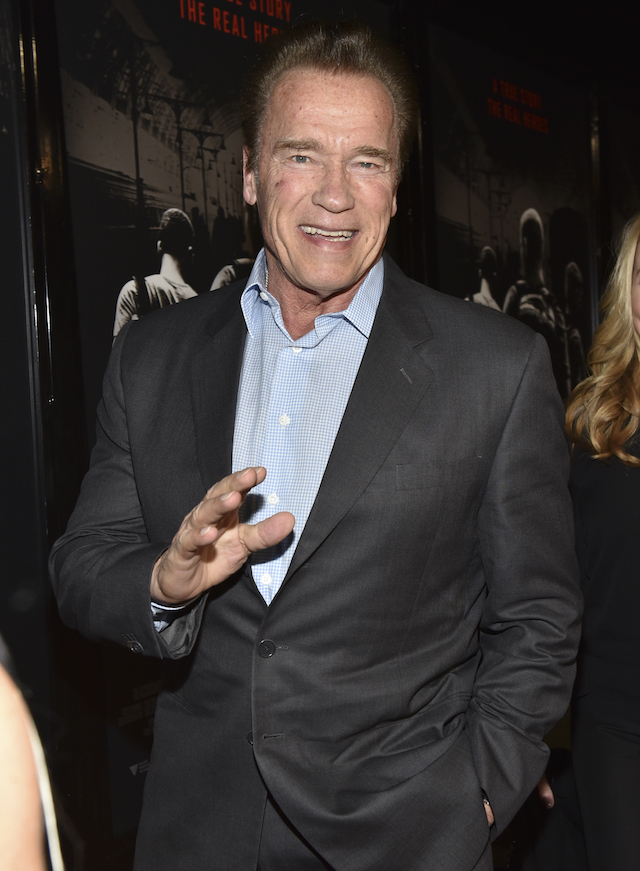 """Former Governor of California Arnold Schwarzenegger arrives at the premiere of Warner Bros. Pictures' """"The 15:17 to Paris"""" at Warner Bros. Studios on February 5, 2018 in Burbank, California. (Photo by Rodin Eckenroth/Getty Images)"""
