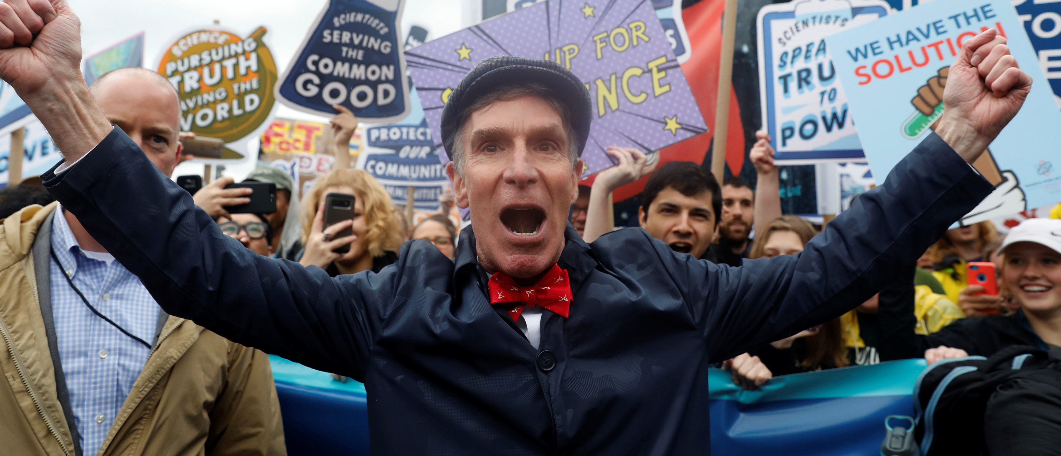 Bill Nye leads demonstrators on a march to the U.S. Capitol during the March for Science in Washington, U.S., April 22, 2017. REUTERS/Aaron P. Bernstein - RC144B052600