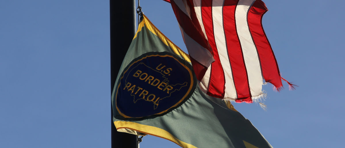 "VAN HORN, TX - NOVEMBER 22: A U.S. Border Patrol flag hangs in front of the sector office in the Big Bend area of west Texas on November 22, 2017 near Van Horn, Texas. Federal agents are searching for suspects in the death of U.S. Border Patrol agent Rogelio Martinez, 36, and a fellow agent who was severely injured while responding to ""activity"" near Van Horn. The FBI is leading the investigation. (Photo by John Moore/Getty Images)"