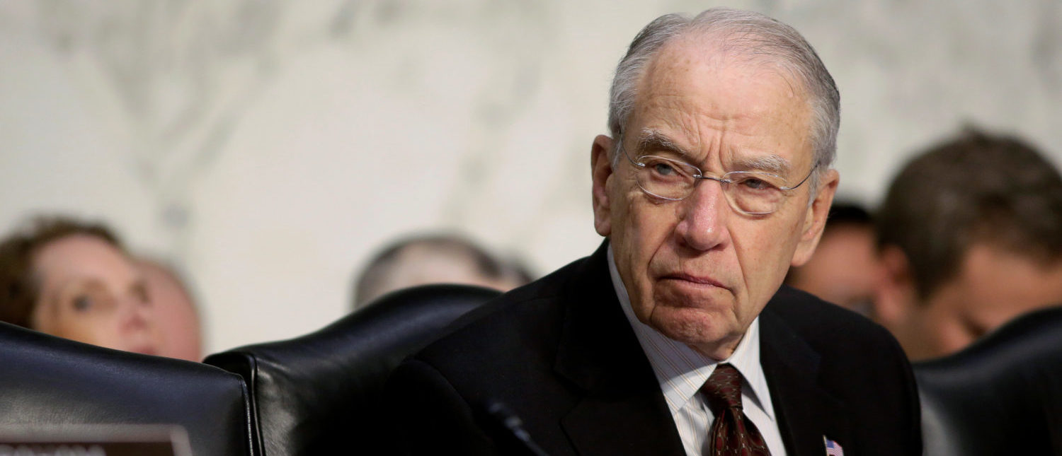 Senate Judiciary Committee Chairman Chuck Grassley (R-IA) listens as U.S. Attorney General Jeff Sessions (not pictured) testifies before a Senate Judiciary oversight hearing on the Justice Department on Capitol Hill in Washington, U.S., October 18, 2017. REUTERS/Joshua Roberts