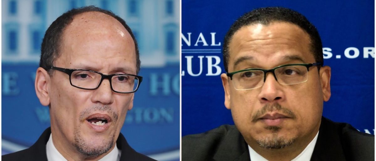 DNC chair Tom Perez and deputy chair Keith Ellison. Ellison is accused of domestic abuse but it remains unclear how seriously the DNC is taking those allegations (Photo: MANDEL NGAN,BRENDAN SMIALOWSKI/AFP/Getty Images)