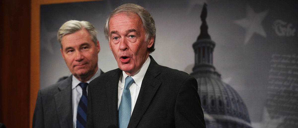 WASHINGTON, D.C. - MAY 24: U.S. Sen. Edward Markey (D-MA) (R) speaks as Sen. Sheldon Whitehouse (D-RI) (L) listens during a news conference at the Capitol May 24, 2017 in Washington, DC. Senate Democrats held a news conference to urge President Donald Trump to not withdraw from Paris Climate Agreement. (Photo by Alex Wong/Getty Images)