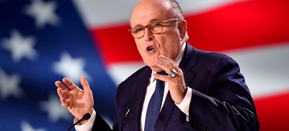 PARIS, FRANCE - JUNE 30: Former Mayor of New York Rudolph Giuliani speaks during the Conference In Support Of Freedom and Democracy In Iran on June 30, 2018 in Paris, France. The speakers declared their support for the Iranian peoples uprising and the democratic alternative, the National Council of Resistance of Iran and called on the international community to adopt a firm policy against the mullahs regime and stand by the arisen people of Iran. (Photo by Anthony Devlin/Getty Images)