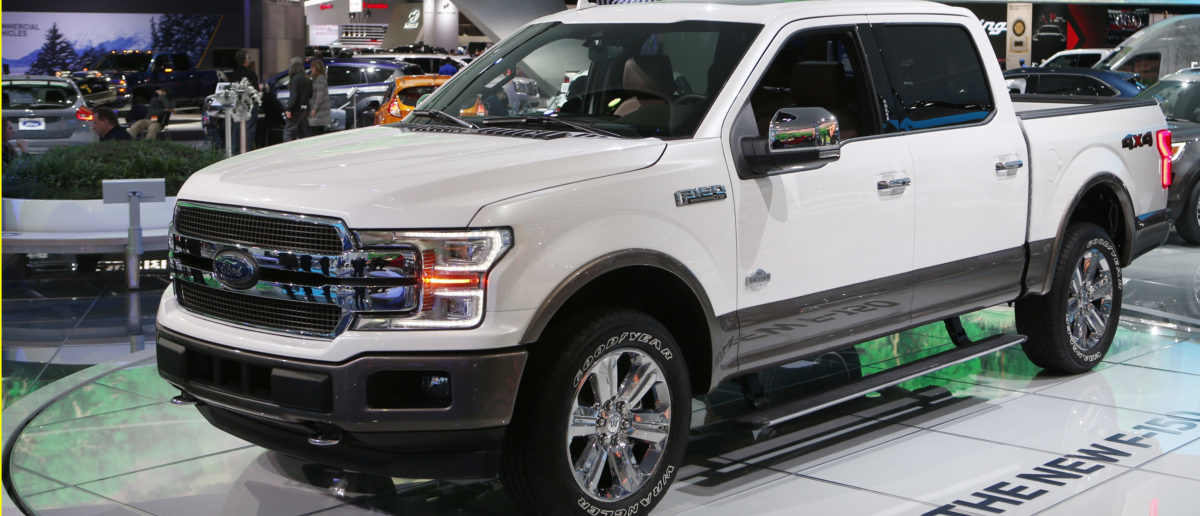 """A 2018 Ford F-150 """"King Ranch"""" pickup truck is displayed during the North American International Auto Show in Detroit, Michigan, U.S., January 10, 2017. REUTERS/Rebecca Cook"""