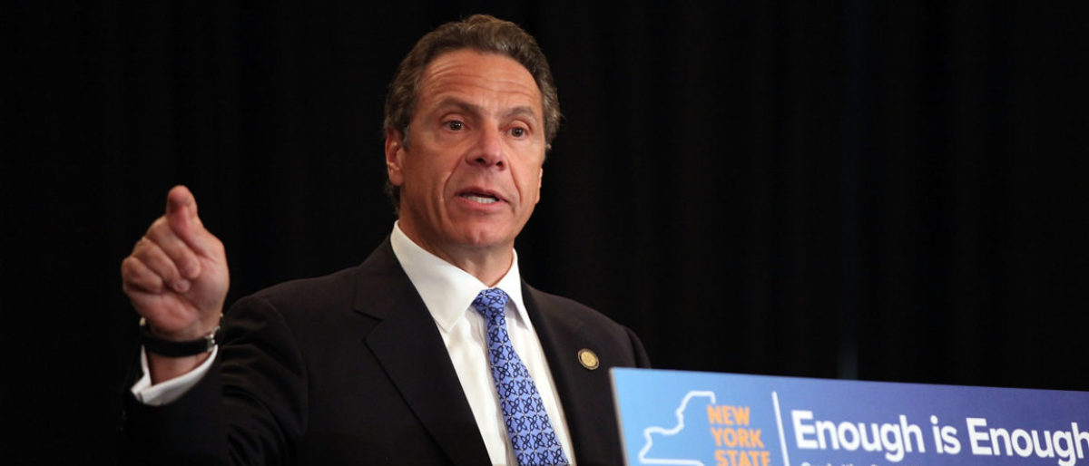 """NEW YORK, NY - JULY 07: New York Governor Andrew Cuomo speaks at an event at New York University (NYU) where he signed where he signed into law a new affirmative sexual consent policy to combat campus sexual violence on July 7, 2015 in New York City. Joined by House Minority Leader Nancy Pelosi, local politicians, surviviors of abuse and area activists, the bill includes a """"yes means yes"""" definition of consent requiring a clear and affirmative agreement between sexual partners. (Photo by Spencer Platt/Getty Images)"""